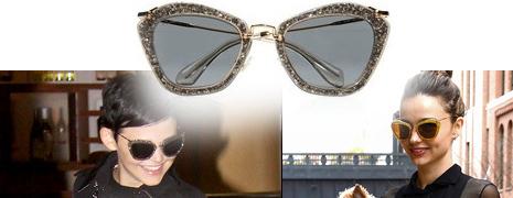 Les lunettes cat-eye à paillettes Miu Miu