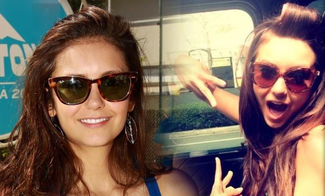 Inspirez-vous de Nina Dobrev pour des lunettes de soleil tendance